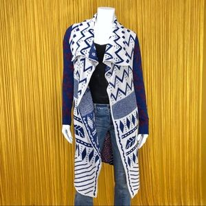 WOVEN HEART Red, White & Blue Aztec Print Duster L